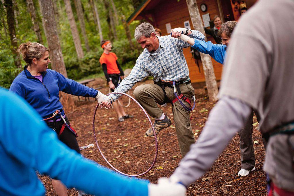 Team bonding with hoop
