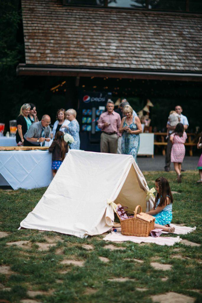Wedding party with kids' play tent
