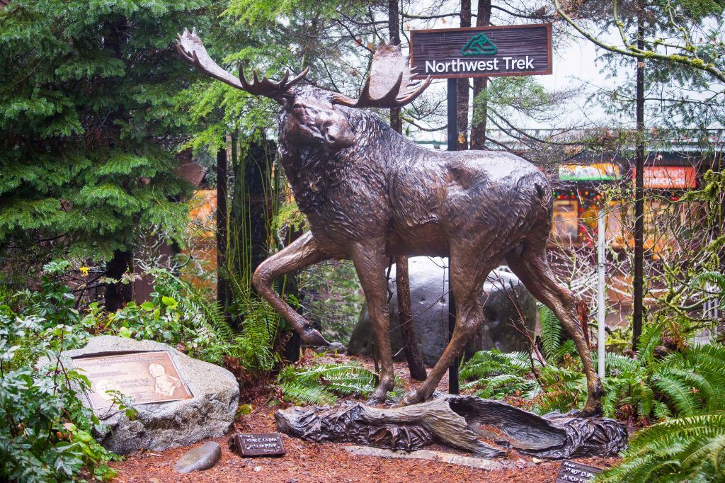 Moose statue at front gate